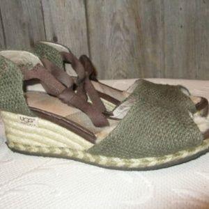 UGG1652 Mar Green Peep Toe Espadrill Sandals sz 6